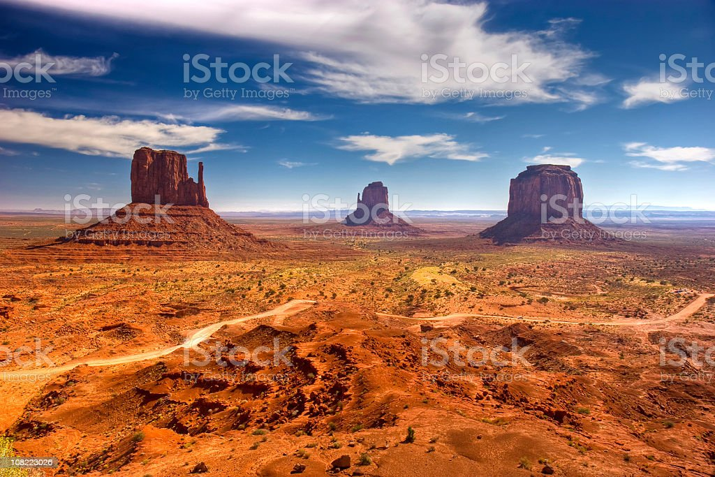Panoramic of Monument Valley landscape stock photo