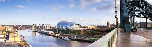 panoramic of newcastle and gateshead quayside - gateshead stock photos and pictures