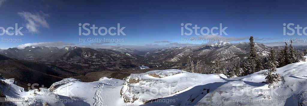 Panoramic of Noonmark Mountain Summit, Adirondacks stock photo