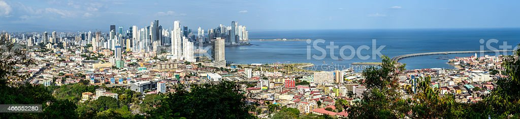 XXXL: Panoramic of old and modern Panama City stock photo