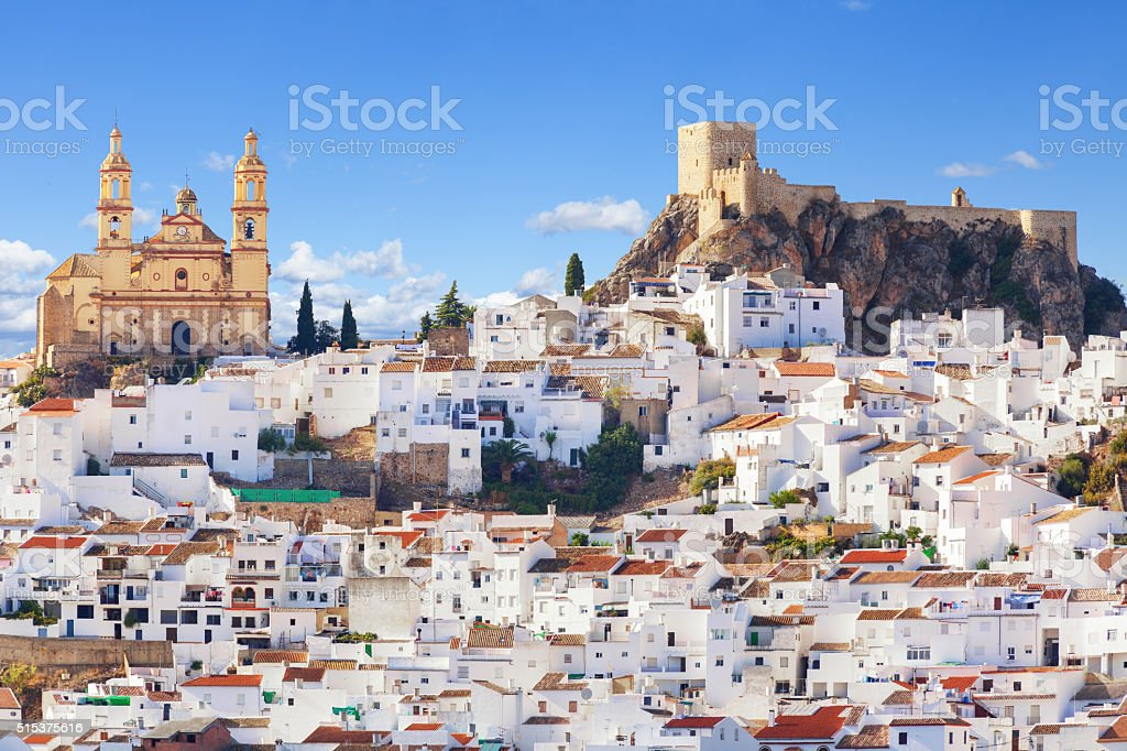 Panoramic of Olvera town, Spain stock photo