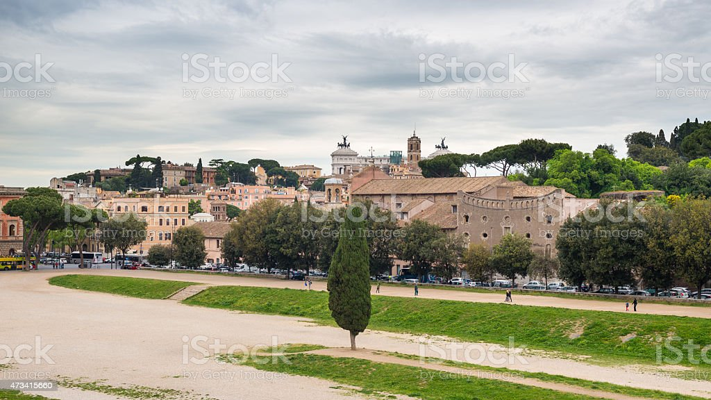 Panoramic of Rome from Circo Massimo, Italy stock photo