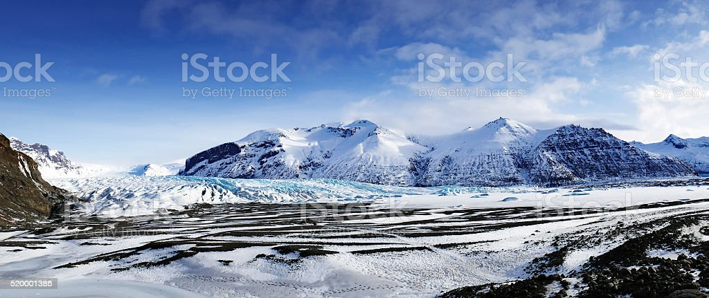 Panoramic of Skaftafell glacier in Iceland stock photo