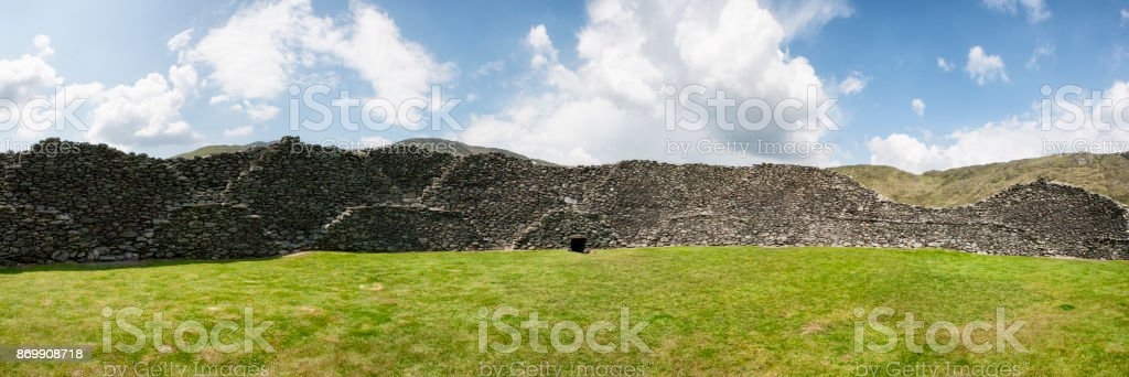 Panoramic of Staigue Stone Fort in County Kerry, Ireland stock photo