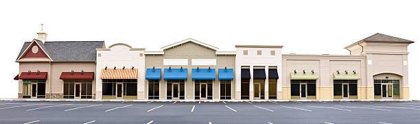 Panorama von mehreren Stores in beliebiger Shopping Plaza Isoliert – Foto