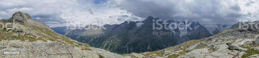 Panoramic of Swiss landscape, Corvatch, Switzerland stock photo