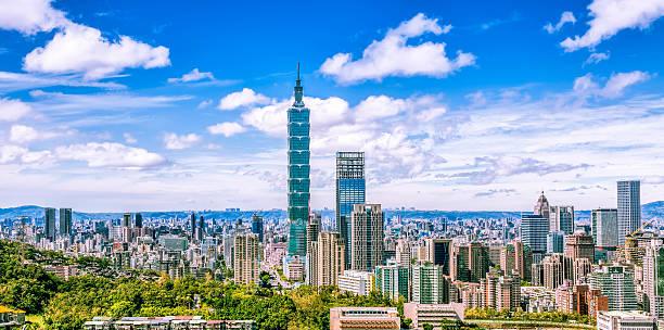 panoramic of taipei city at sunrise, taiwan - insel taiwan stock-fotos und bilder