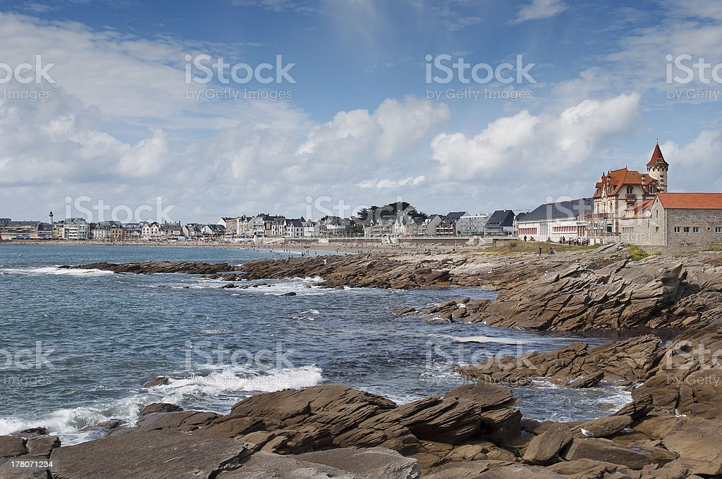 Panoramic of the beach and town. Quiberon, Brittany stock photo