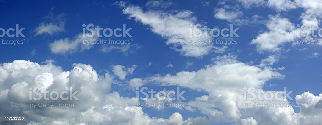 Panoramic of the blue sky with clouds royalty-free stock photo