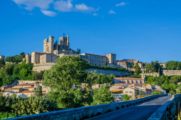 Panoramic of the city of Beziers France stock photo