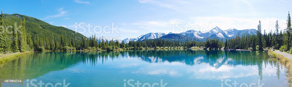 Panoramic of the Forget-Me-Not Pond, Alberta,Canada stock photo
