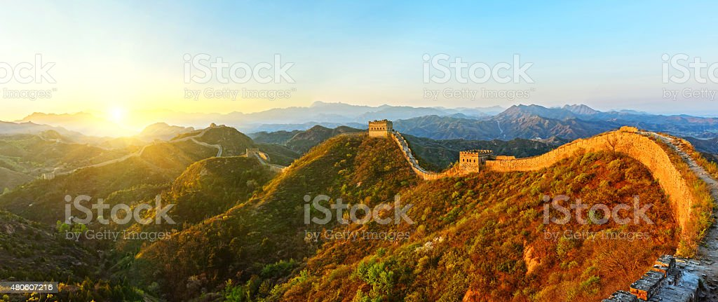 Panoramic of The great wall in the sunset stock photo