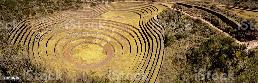 Panoramic of the Incan archaeological site of Moray stock photo
