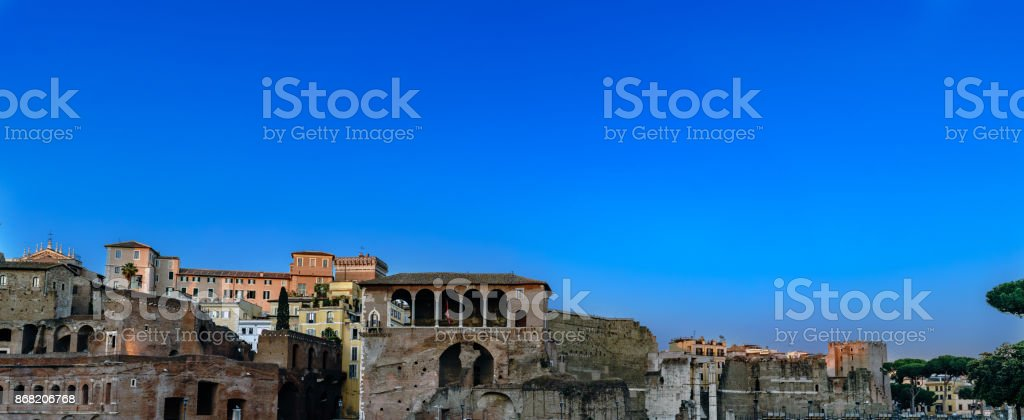 Panoramic of the Market of Trajan (Roman Emperor), seen at dusk with clear sky in Roma, Italy stock photo