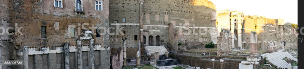 Panoramic of the Market of Trajan (Roman Emperor), seen at dusk with clear sky stock photo