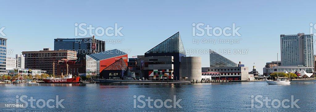Panoramic of the National Aquarium in Baltimore, Maryland stock photo