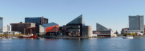 Panoramic of the National Aquarium in Baltimore, Maryland stock photo