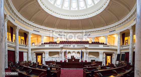 Panoramic shot of the Senate Chamber at the Idaho State Capitol Building in Boise, Idaho, USA. Multiple files stitched.