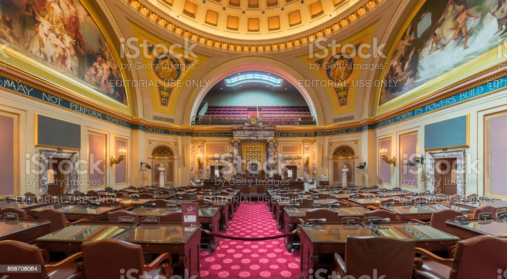 Panoramic of the Senate Chamber in the Minnesota State Capitol building stock photo
