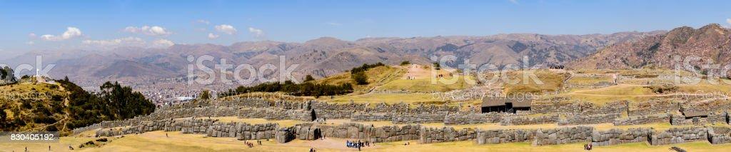 Panoramic of the stone walls  of the Inca ruins of Saqsaywaman, Peru stock photo