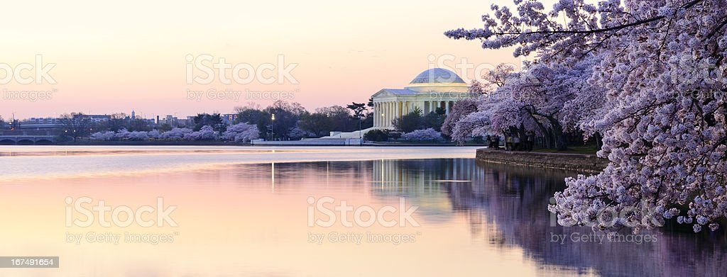 Panoramic of Thomas Jefferson Memorial in the early morning stock photo