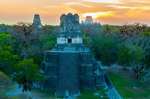 istock Panoramic of Tikal pyramids Gran Jaguar in Peten, Guatemala. Mayan culture. 969048982