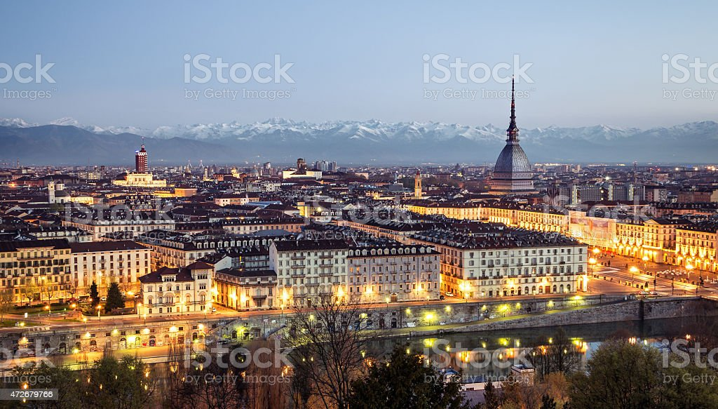 Panoramic of Turin (Torino) at the blue hour all lit up stock photo