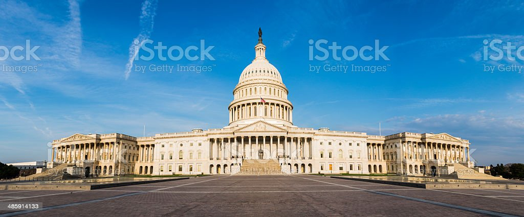 Panoramic of US Capitol Building in Washington DC -XXXL stock photo