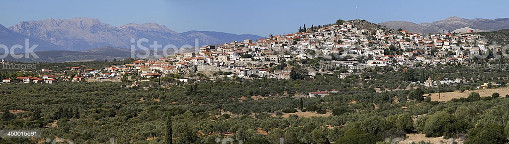 Panoramic of Village In Lakonia, Greece stock photo