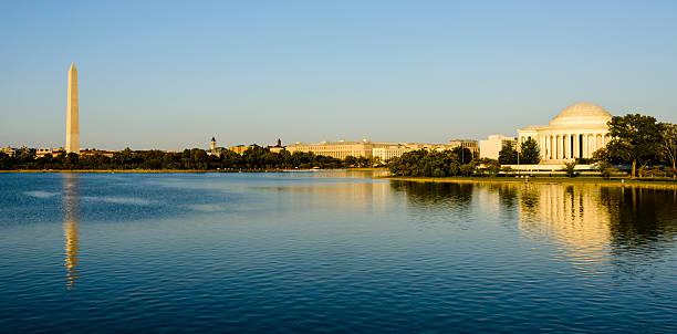 Panoramic of Washington DC tidal basin. Jefferson Memorial, Washington Monument stock photo