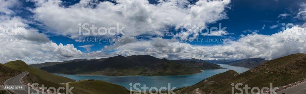 Panoramic of Yamdrok Lake in Tibet stock photo