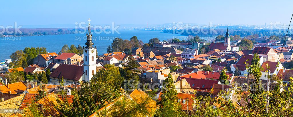Panoramic of Zemun, with church tower in Belgrade stock photo