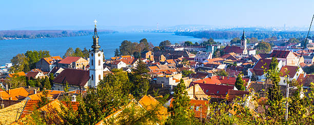 panoramic of zemun, with church tower in belgrade - serbia stock photos and pictures