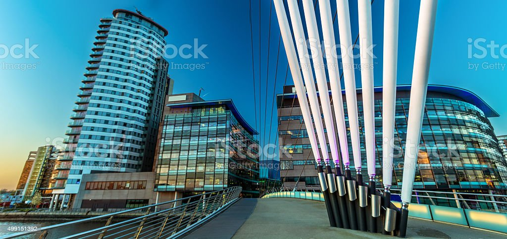 Panoramic Office Buildings At Salford Quays At Twilight. stock photo