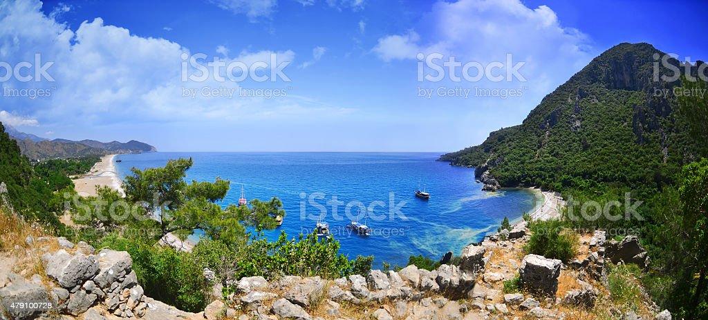Panoramic Olympos Beach. stock photo