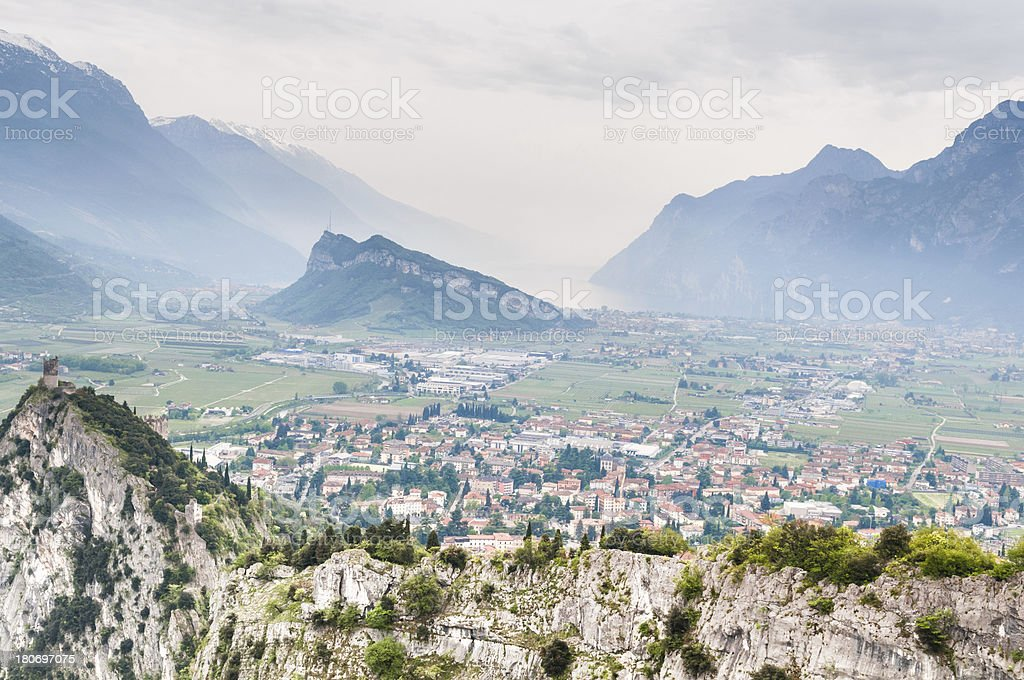 Panoramic on the north part of Lake Garda, Italy stock photo