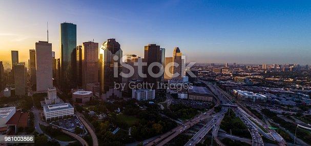 542727462 istock photo Panoramic panorama aerial drone pano Houston Texas Skyline Cityscape at sunrise 981003866