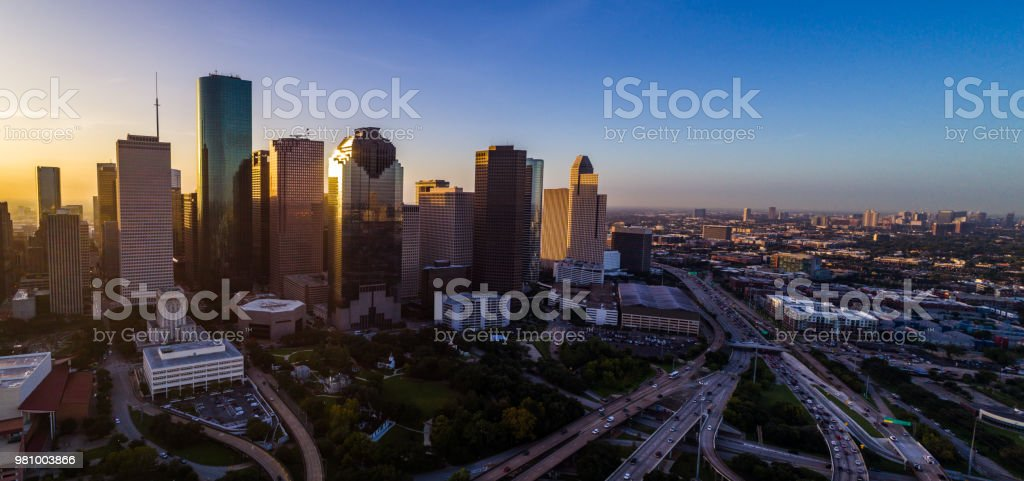 Panoramic panorama aerial drone pano Houston Texas Skyline Cityscape at sunrise stock photo
