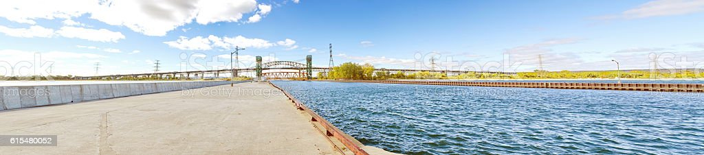 Panoramic Perspective of Hamilton Harbour entry from Lake Ontario stock photo