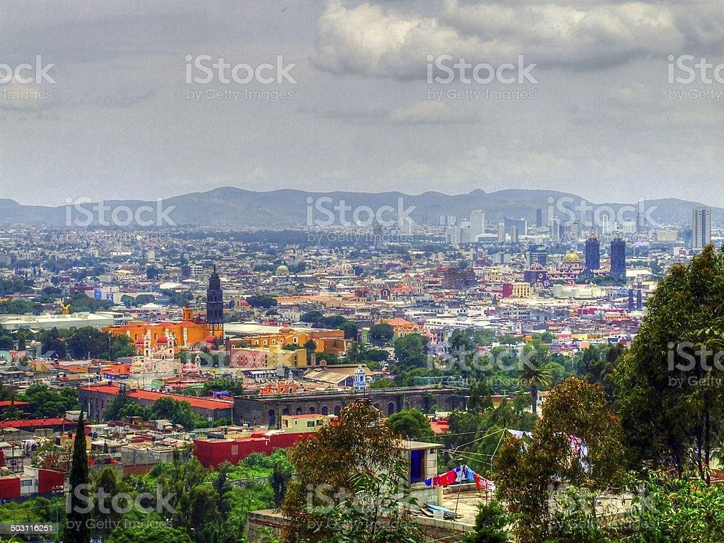 Foto panorámica de las ciudades y pueblos de Puebla Capital de México - foto de stock