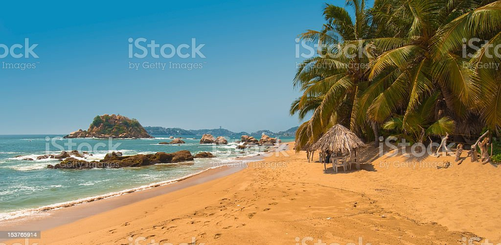 Panoramic photo of Acapulco Bay, Mexico stock photo