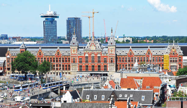 Panoramic photo of Amsterdam Central Station from above. stock photo