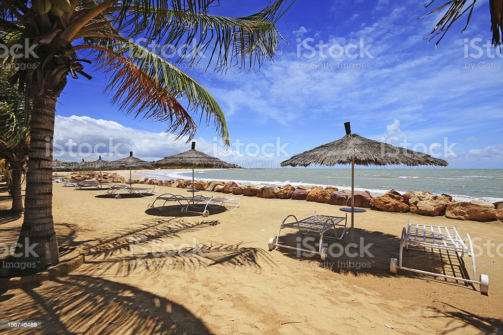 Panoramic photo of beach in Senegal stock photo