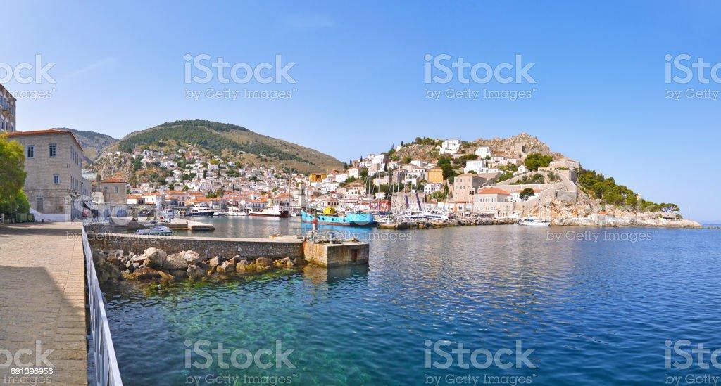panoramic photo of Hydra Greece royalty-free stock photo