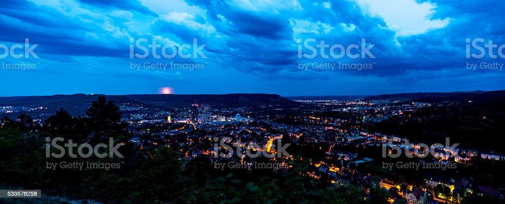Panoramic photo of Jena (Thuringia, Germany) shortly after sunset. stock photo