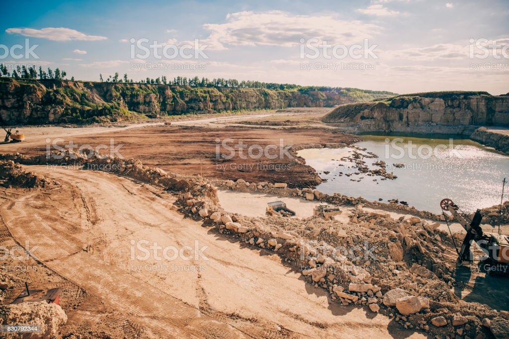 Panoramic Photo Of Open Cast Quarry Limestone Mining Stock Photo - Download  Image Now