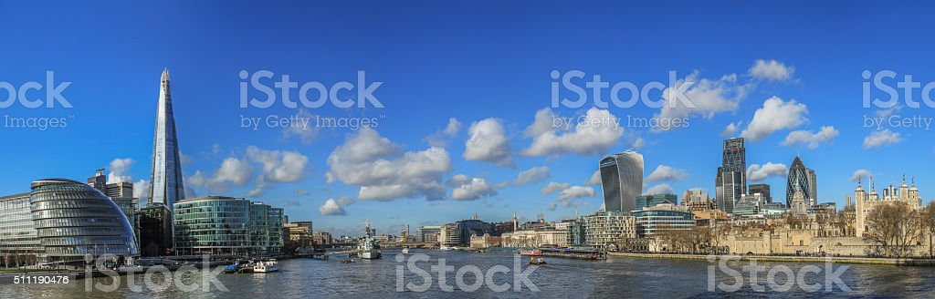 Panoramic photo of the City of London skyline. stock photo