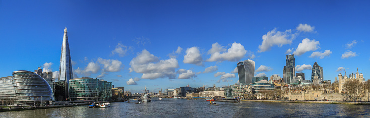 Panoramic Photo Of The City Of London Skyline Stock Photo - Download Image Now