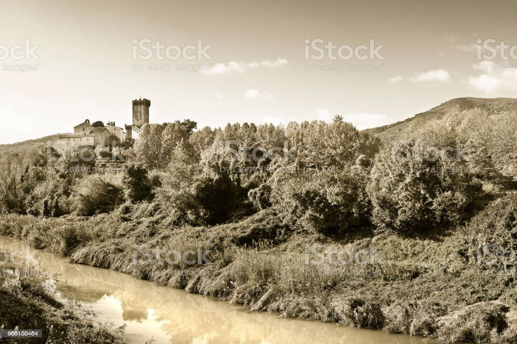 Panorama-Foto von der berühmten mittelalterlichen Zitadelle von Vicopisano (Italien - Toskana - Pisa). Die Zitadelle von Vicopisano wurde 1434 erbaut wurde und von den großen Architekten Filippo Brunelleschi die gebar der italienischen Renaissance entwor - Lizenzfrei Baum Stock-Foto