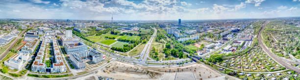 Panoramic Photo of the Olympiapark and Moosach, Munich, Germany stock photo